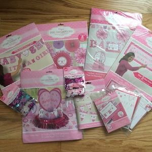 Huge Baby Shower Girl Decorations bundle pink